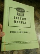 Reprint Service Manual Ford Tractor Ferguson System For Owners And Mechanics