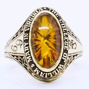 Vintage 1969 Jostens 10k Yellow Gold College Of William And Mary Spinel Class Ring
