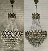 Matching Pair Of Antique Vintage Brass And Crystals French Huge Chandeliers
