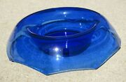 Rare Large Depression Glass Cobalt Blue 12 Rolled Edge Scalloped Console Bowl
