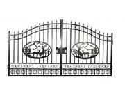 Wrought Iron Driveway Entry Gate Steel Wd Home Residential Security, Dual Swing