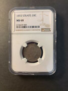 Straits Settlements Queen Victoria Silver 20 Cents 1893 Uncirculated Ngc Ms60