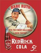 Babe Ruth Red Rock Cola Metal Tin Sign Baseball Cafe Store Diner Kitchen Gift