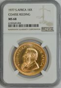 1977 South Africa Krugerrand Course Reeding Ms68 Ngc 944174-4