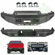 For 10-18 Dodge Ram 2500 3500 Front Rear Bumper W/ Led Light Winch Plate D-ring