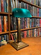Antique Emeralite Bankers Desk Lamp 8734 B Green Cased Shade Miller B And H