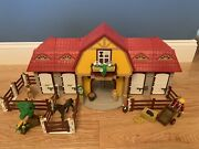 Playmobil 5221 Large Horse Farm + Extra Stables 5983 And Jeep/trailer 4189