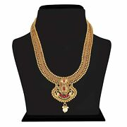 Gold Plated Traditional South Indian Bridal Copper Jewellery Set Earrings A999