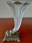 Art Deco Pairpoint Frosted Scalloped Glass Trumpet Vase 7-1/4 Tall Footed Base