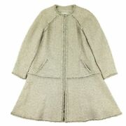 P55 Chain Decoration No Collar Lame Tweed Coat Women And039s Gray No.6712