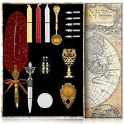 Nc Upgraded Wax Seal Stamp Kit,quill Pen Ink Set Includes Feather Dip Pen,ink,5