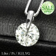 Carat Diamond Necklace Grain 1.0ct One Point Stay Platinum Pt900 Color I1 Very
