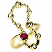 Secondhand K18yg Ruby Diamond Ring 0.26ct D0.12ct Jewelry Nj Postage Service