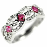 Secondhand Pt900 Ruby Diamond Ring R0.37ct D0.28ct Jewelry Nj Postage Service