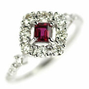 Secondhand Pt950 Ruby Diamond Ring 0.355ct D0.60ct Jewelry Nj Postage Service