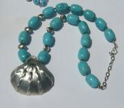 Vtg Big Scallop Sea Shell Nautilus Sterling Silver Pendant Necklaceturquoise