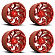 Set 4 22 Fuel D754 Reaction 22x12 Candy Red Milled 8x170 Wheels -44mm Rims