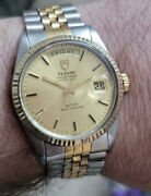 Tudor Day Date 36mm 18k Solid Gold And Ss Swiss Automatic Men's Watch Boxed