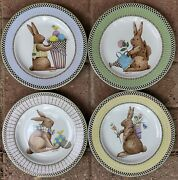 4 1998 Sakura And Debbie Mumm Spring Is In The Air Easter Bunny Rabbit 8 Plates