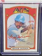 Reggie Jackson 2021 Topps Heritage Real One Red Ink Auto Autograph Card 13/72
