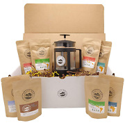 Best Coffee Gift Box Set 8 Assorted Coffees +1 French Press Glass Coffee Maker.