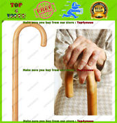 Solid Wooden Walking Cane W/ Round Handle