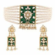 Gold Plated Traditional Pearl And Kundan Meenakari Necklace Jewellery P999