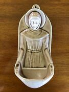 Vintage Rookwood Pottery St. Francis Holy Water Font Wall Pocket Signed Cz 1959