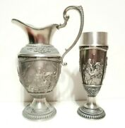 Set Of Pewter Pitcher Beer Glass Decorative Party Jug Goblet Germany Collectible