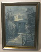 Winter City Scape Oil On Canvas Painting Signed Hoberg Framed