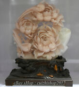 18 Natural Xiu Pink Jade Carving Subshrubby Peony Flower Birds Lucky Statue
