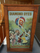 Stunning Double Sided Diamond Dye Retail Display Cabinet W/ Tin Litho Dated 1911