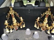 Pair Large Murano Italian Florentine Wall Sconces Glass Pears With Gold Powder