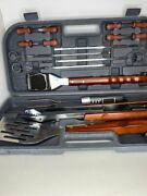 Chefmate 17 Piece Stainless Steel Bbq Tool Set With Digital Thermometer Fork