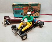 Vintage Battery-op Race-a-kart Toy Tin Go-cart Toy Car T.m. Japan In Box.