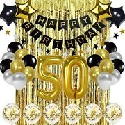 50th Birthday Decorations For Women - Men Kit Black And Gold Decorations
