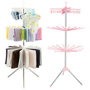 3 Tier Stainless Steel Folding Clothes Drying Rack Laundry Stand 24 Clip 32 Bars