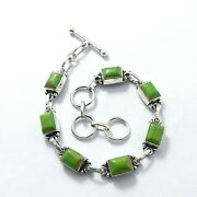 925 Silver Plated Brass Green Copper Turquoise Gemstone And 8 Inch Bracelets.