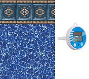 18' Round Westminster Above Ground Multi-bead Swimming Pool Liner + Thermometer