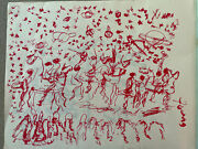 Purvis Young Signed Ink - People, Horses And Planets - Original Art Unframed
