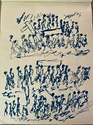 Purvis Young Signed Ink - Marching Funeral With Cross - Original Art Unframed
