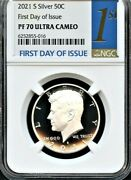 2021 S Silver 99.9 Kennedy Half Dollar First Day Of Issue Ngc Pf70 Ultra Cameo .
