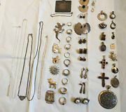 Vintage Sterling Silver 925 Stamped Mixed Jewelry Lot 47 Pieces, 284 Grm