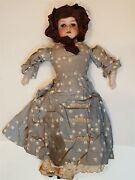 Antique 22 German Armand Marseille Bisque Head Doll Leather Body Fabric Clothes