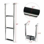 3 Step Wide Steps Stainless Steel Telescoping Ladder Swim Step For Boat Yacht Am
