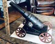 Antique Early 1900s Cast Iron 4 Wheel Conestoga Big Bang Toy Cannon