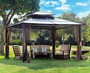 Hardtop Gazebo Sunjoy 10 X 12 Chatham Steel With Vented Roof And Netting