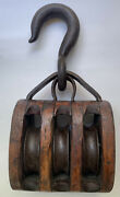 Vtg Marina Bait And Tackle Wooden Pulley Nautical Decor