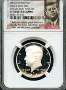2020 S Silver 50c From 10-coin Silver Set Ngc Pf70 Ultra Cameo Portrait