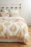 Anthropologie 💛 Fortuna 💛 King Duvet Cover And Two Euro Shams Yellow Nwt